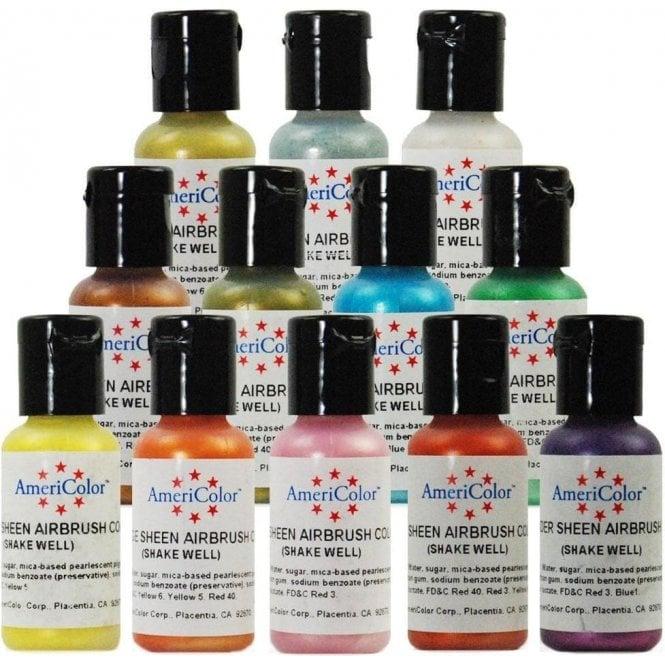 Americolor - FULL SET of all 12 - AmeriMist Airbrush Food Colouring ...