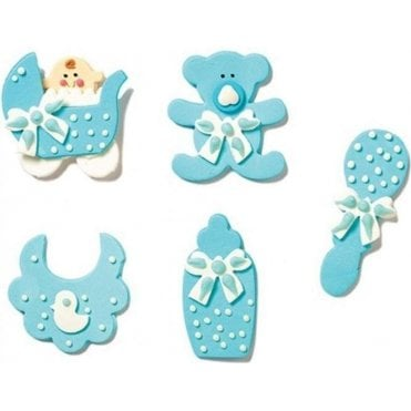 Baby Nursery Blue-Sky Sugar Royal Icing Decorations  - 5 Count
