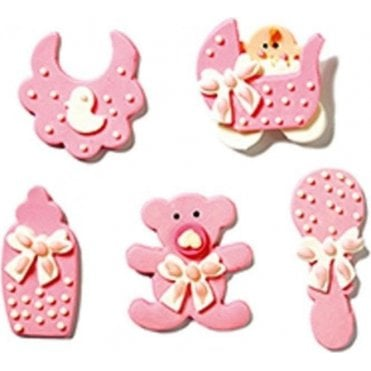 Baby Nursery Pink Sugar Royal Icing Decorations  - 5 Count