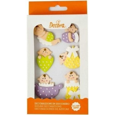 Baby Shower Sugar Royal Icing Decorations  - 6 Count