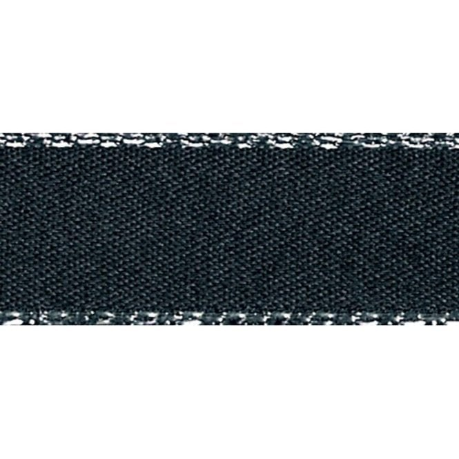 Berisford Ribbon Black with Silver Textured Edge - Double Faced Satin Cake Ribbon - by the metre
