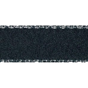 Black with Silver Textured Edge - Double Faced Satin Cake Ribbon - by the metre