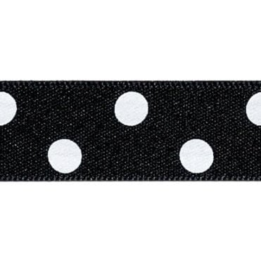 Black with White Polka Dots - Double Faced Cake Decorating Satin Ribbon - by the metre