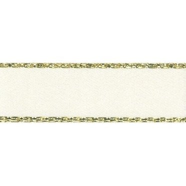 Bridal White with Gold Textured Edge - Double Faced Satin Cake Ribbon - by the metre