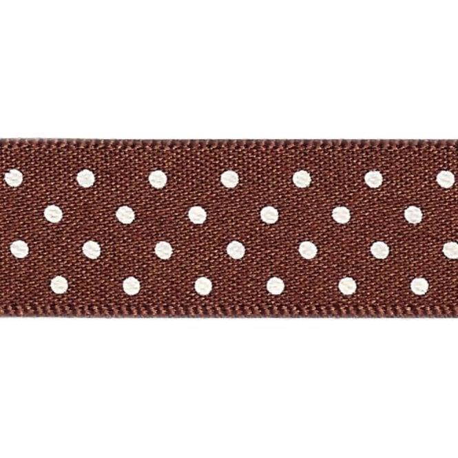 Berisford Ribbon Brown with White Micro Polka Dots - Double Faced Satin Cake Ribbon - by the metre