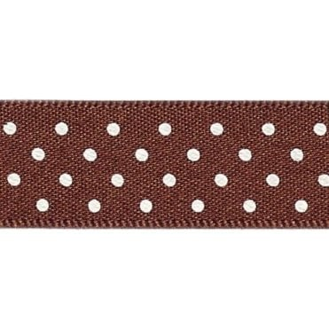 Brown with White Micro Polka Dots - Double Faced Satin Cake Ribbon - by the metre