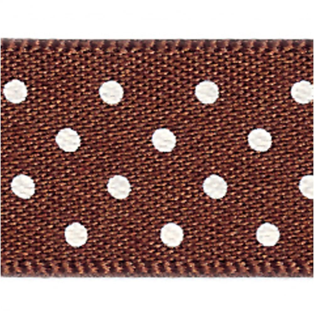 Per Metre 25mm Berisfords Brown Polka Dot Ribbon