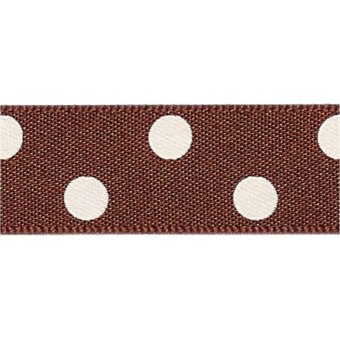 Berisford Ribbon Brown with White Polka Dots - Double Faced Cake Decorating Satin Ribbon - by the metre