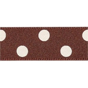 Brown with White Polka Dots - Double Faced Cake Decorating Satin Ribbon - by the metre