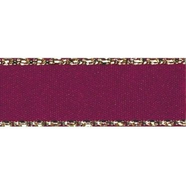 Burgundy with Gold Textured Edge - Double Faced Satin Cake Ribbon - by the metre