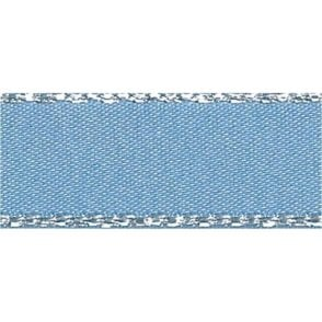 Cornflower Blue with Silver Textured Edge - Double Faced Satin Cake Ribbon - by the metre