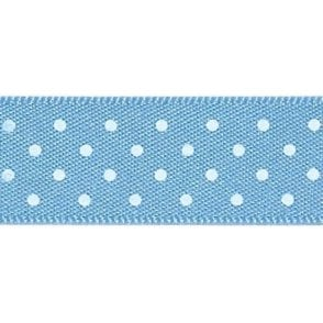 Cornflower Blue with White Micro Polka Dots - Double Faced Cake Satin Ribbon - by the metre