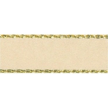 Cream with Gold Textured Edge - Double Faced Satin Cake Ribbon - by the metre
