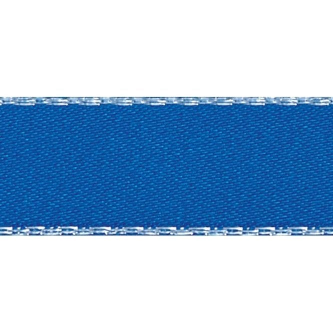 Berisford Ribbon Dark Royal Blue with Silver Textured Edge - Double Faced Satin Cake Ribbon - by the metre