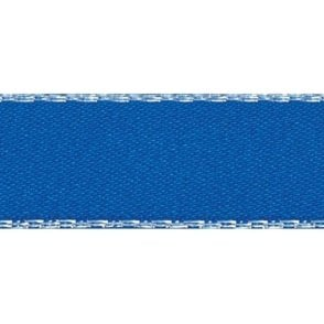 Dark Royal Blue with Silver Textured Edge - Double Faced Satin Cake Ribbon - by the metre