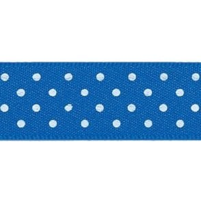 Dark Royal Blue with White Micro Polka Dots - Double Faced Cake Satin Ribbon - by the metre