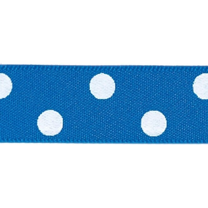 Berisford Ribbon Dark Royal Blue with White Polka Dots - Double Faced Cake Decorating Satin Ribbon - by the metre