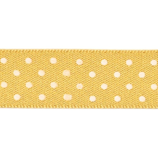 Berisford Ribbon Gold with White Micro Polka Dots - Double Faced Cake Satin Ribbon - by the metre
