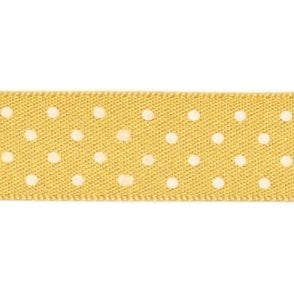 Gold with White Micro Polka Dots - Double Faced Cake Satin Ribbon - by the metre