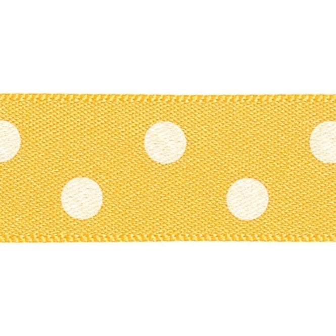 Berisford Ribbon Gold with White Polka Dots - Double Faced Cake Decorating Satin Ribbon - by the metre