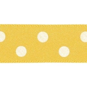 Gold with White Polka Dots - Double Faced Cake Decorating Satin Ribbon - by the metre