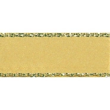 Honey Gold with Gold Textured Edge - Double Faced Satin Cake Ribbon - by the metre