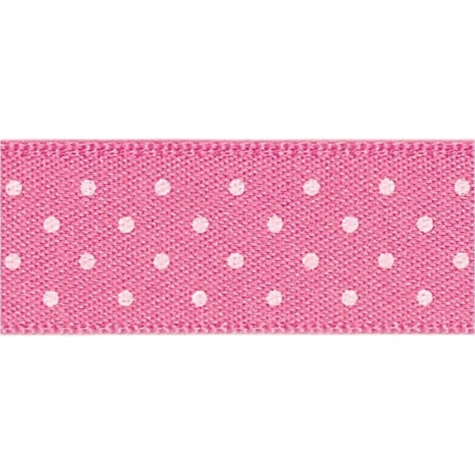 Berisford Ribbon Hot Pink with White Micro Polka Dots - Double Faced Cake Satin Ribbon - by the metre