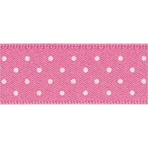 Hot Pink with White Micro Polka Dots - Double Faced Cake Satin Ribbon - by the metre