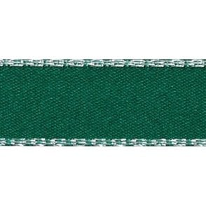 Hunter Green with Silver Textured Edge - Double Faced Satin Cake Ribbon - by the metre