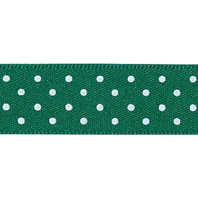 Berisford Ribbon Hunter Green with White Polka Dots - Double Faced Satin Cake Ribbon - by the metre