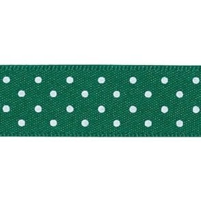 Hunter Green with White Polka Dots - Double Faced Satin Cake Ribbon - by the metre
