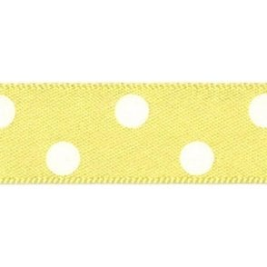Lemon with White Polka Dots - Double Faced Cake Decorating Satin Ribbon - by the metre