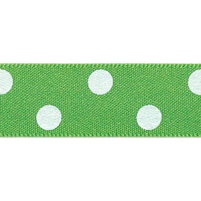 Berisford Ribbon Meadow with White Polka Dots - Double Faced Cake Decorating Satin Ribbon - by the metre