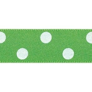 Meadow with White Polka Dots - Double Faced Cake Decorating Satin Ribbon - by the metre