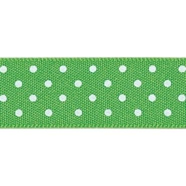 Meadow with White Polka Dots - Double Faced Satin Cake Ribbon - by the metre