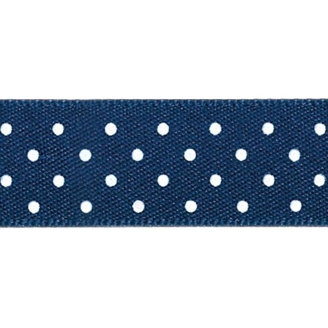 Berisford Ribbon Navy Blue with White Micro Polka Dots - Double Faced Cake Satin Ribbon - by the metre