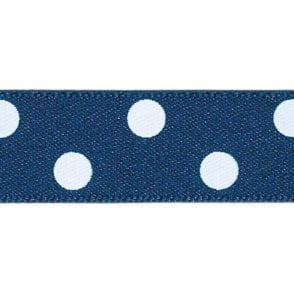 Navy Blue with White Polka Dots - Double Faced Cake Decorating Satin Ribbon - by the metre