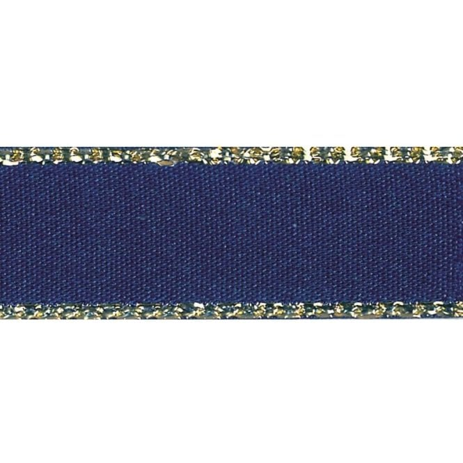 Berisford Ribbon Navy with Gold Textured Edge - Double Faced Satin Cake Ribbon - by the metre