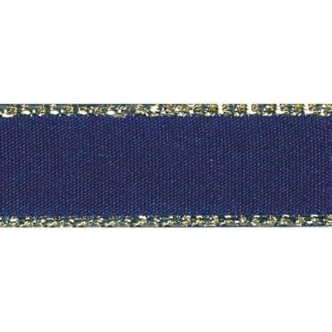 Navy with Gold Textured Edge - Double Faced Satin Cake Ribbon - by the metre