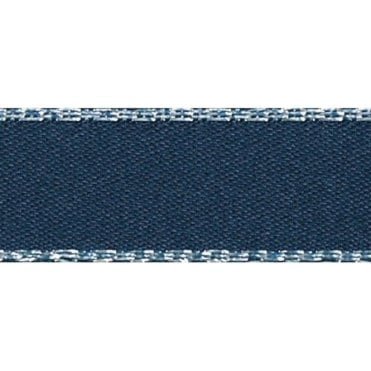 Navy with Silver Textured Edge - Double Faced Satin Cake Ribbon - by the metre
