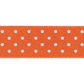 Orange Delight with White Polka Dots - Double Faced Satin Cake Ribbon - by the metre