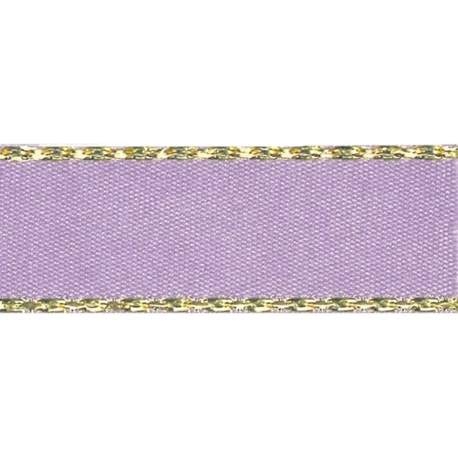 Berisford Ribbon Orchid with Gold Textured Edge - Double Faced Satin Cake Ribbon - by the metre