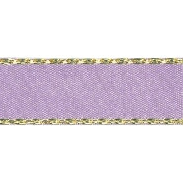 Orchid with Gold Textured Edge - Double Faced Satin Cake Ribbon - by the metre