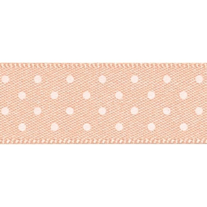 Berisford Ribbon Peach with White Micro Polka Dots - Double Faced Satin Cake Ribbon - by the metre