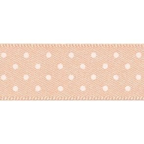 Peach with White Micro Polka Dots - Double Faced Satin Cake Ribbon - by the metre