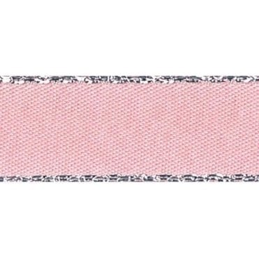 Pink Azaela with Silver Textured Edge - Double Faced Satin Cake Ribbon - by the metre