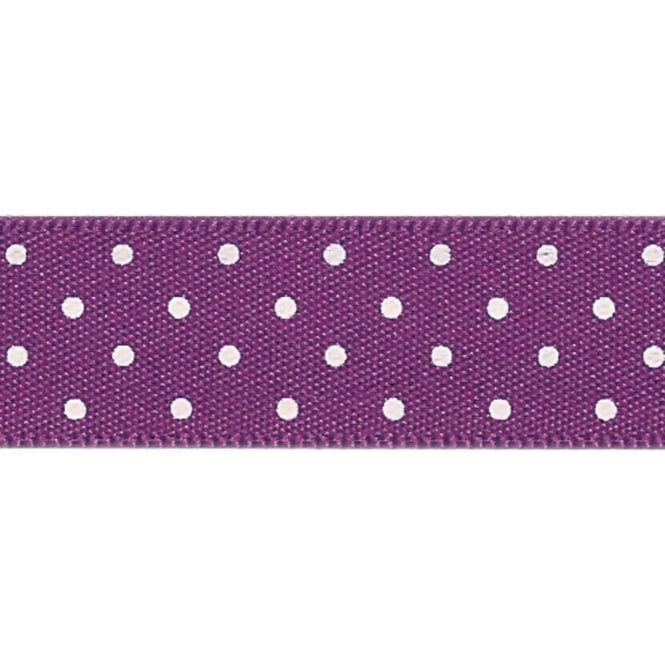 Berisford Ribbon Plum with White Micro Polka Dots - Double Faced Satin Cake Ribbon - by the metre