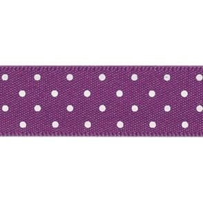 Plum with White Micro Polka Dots - Double Faced Satin Cake Ribbon - by the metre