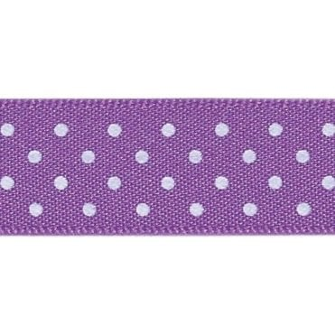 Purple with White Micro Polka Dots - Double Faced Satin Cake Ribbon - by the metre