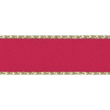 Red with Gold Textured Edge - Double Faced Satin Cake Ribbon - by the metre